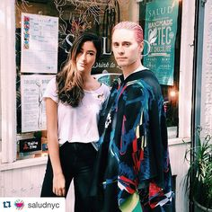 """""""#Repost @saludnyc ・・・ All jokes (or Jokers) aside, it's a beautiful day to step outside in your most fashion-foward ensemble and swing by your fave little spot for some killer juice and batty bites. Here's our juicy bae @kyleecampbell hanging with our new friend @jaredleto #acaiforlife #soho #salud #juiceandjokers #jaredleto #joker #batman"""" Photo taken by @connyma84 on Instagram, pinned via the InstaPin iOS App! http://www.instapinapp.com (10/09/2015)"""
