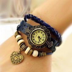 2013 New Lovely Vantage Punk Style Leather Band Bracelet Watch