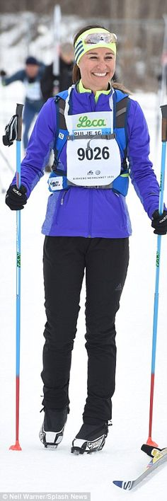 Skiwear chic: Pippa paired a fitted ski jacket with black salopettes and gloves, ensuring ...