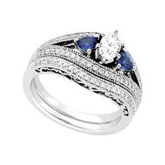 There are times to Celebrate, Capture life's important moments with TheJewelryHut Fancy Designer Antique Retro. Vintage Style Diamonds, The most Precious of Gems, and Sapphire in Gold Engagement Ring and Diamonds Wedding Band Set. on sale $1,826.00