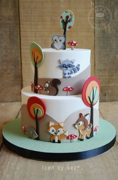 Cute Woodland cake by Iced by Kez