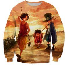 Funny Anime One Piece Monkey D. Luffy Sunset Vintage 3D Sweatshirt