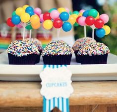 Circus Party Inspiration Board by Bella Bella Studios ~ Love these circus balloon cupcakes via Karas Party Ideas. Birthday Balloons, Birthday Fun, Birthday Parties, Mini Balloons, Rainbow Balloons, Circus Birthday, Birthday Ideas, Colorful Birthday, Themed Parties