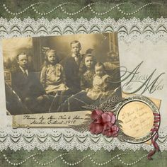"""Memories In Time - Digital Scrapbooking - Family History. Still love this kit and the layout I created with it. Published in """"Scrapbooking Memories Vol 9 No 4. Products: Grandmother's Garden Page Kit by Lauren Bavin Christmas Card Sentiments Word Art by Tina Chambers"""