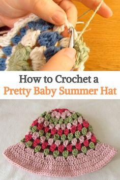 Crochet Baby Hats, Crochet Beanie, Crochet For Kids, Baby Knitting, Knit Crochet, Free Baby Patterns, Crochet Patterns, Summer Baby, Summer Kids