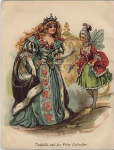 """Cinderella and her Fairy-Godmother"" -- illustrated by Ada Leonora Bowley [usually signed A L Bowley] Book Illustration, Illustrations, Digital Illustration, Cinderella Art, Etiquette Vintage, Fantasy Literature, Fairy Godmother, Antique Books, Vintage Postcards"