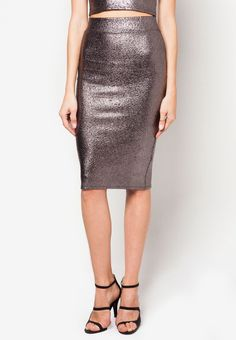 MISS SELFRIDGE Silver Metallic Pencil Skirt 閃面半截裙