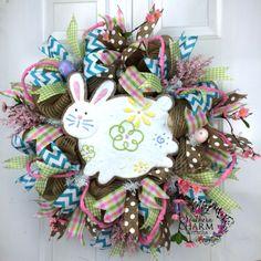 Mesh Easter Burlap Wreath Bunny by SouthernCharmWreaths Easter Wreaths, Fall Wreaths, Christmas Wreaths, Wreaths For Sale, How To Make Wreaths, Turquoise Chevron, Deco Mesh Wreaths, 4th Of July Wreath, Burlap Wreath