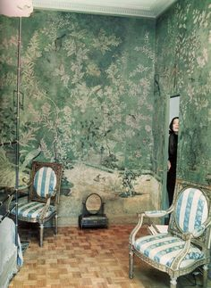 Pauline de Rothschild's home, photographed by Horst P. Horst. Green and white Chinoiserie wall covering.