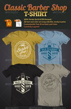 Classic Barber Shop T-Shirt Template Vector EPS, AI. Download here: http://graphicriver.net/item/classic-barber-shop-tshirt/5623767?ref=ksioks