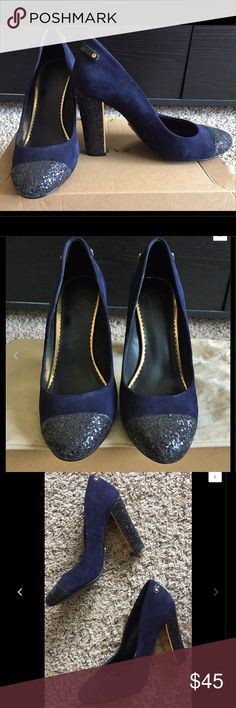 C Wonder suede pump C Wonder navy pump. Like-new condition, minimal use. Heel is about 3 in 3/4 high, with gold accent on heel trim. Shoes Heels