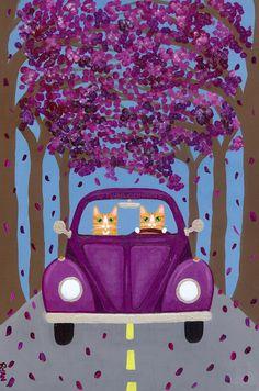 Purple Volkswagen Bug Road Trip Original Cat by KilkennycatArt (Ryan Conners)
