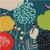 teal wildflower echino laminate fabric bird flower on ModeS