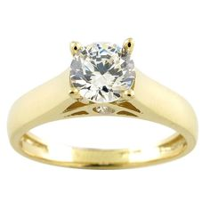 10k Yellow Gold Round Cubic Zirconia Solitaire Engagement Ring (Size 8), Women's, Size: 5, White