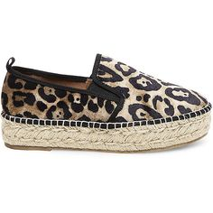 Steve Madden Phoebe-V Slip On Sneakers ($80) ❤ liked on Polyvore featuring shoes, sneakers, leopard, leopard print slip-on sneakers, leopard slip-on sneakers, flatform sneakers, espadrille sneakers and platform shoes