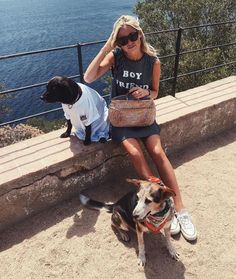 Claartje Rose, Dutch blogger, striped dress, dogs, summer fashion