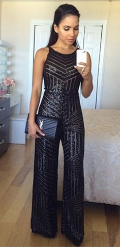 Perfectly Posh Black Geometric Stripe Sequin Spaghetti Strap Scoop Neck Wide Leg Jumpsuit