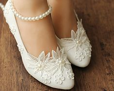 Handmade White lace Pearl wedding shoes ballet flat Pearl beads Bridal shoes Bridal flat heel shoes Bridesmaids shoes You can … Silver Bridal Shoes, Bridal Flats, Bridal Wedding Shoes, Bridesmaid Shoes Flat, Bridesmaids Heels, Wedding Bridesmaids, Bridesmaid Dresses, Lace Heels, Wedding Accessories