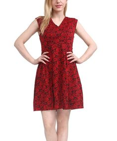 Another great find on #zulily! Red Floral V-Neck Dress by Reborn Collection #zulilyfinds