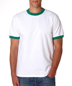2e954a525 Anvil Adult Ringer Tee 923 White  Kelly. lead apparel