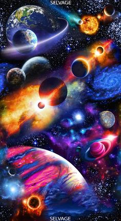 [Sold by the Panel] Solar System Panel Midnight Cotton Fabric Sold by the Planets Wallpaper, Wallpaper Space, Galaxy Wallpaper, Wallpaper Backgrounds, Cool Wallpapers Space, Galaxy Painting, Galaxy Art, Galaxy Planets, Galaxy Space
