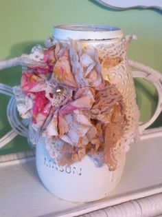 Mason Jar with Shabby Tea Dyed Flower Rose & by DolledandDazzled