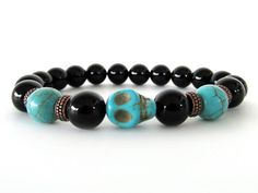 Men's Bracelet - Black Onyx with Magnesite Skull Focal Bead Bracelet - Beaded Stretch Bracelet - Men's Jewelry