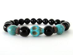 Men's Bracelet - Black Onyx with Magnesite Skull Focal Bead Bracelet - Beaded Stretch Bracelet - Men's Jewelry