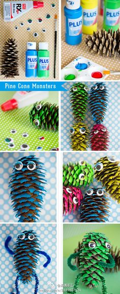 Create Pine Cone Monsters with patience and wisdom in the process, ... | DIY Crafts Club