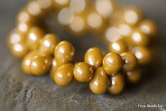 Drop Czech Beads Luster Mustard Style 7mm -  CZDR0012 by FoxyBeadsCo on Etsy