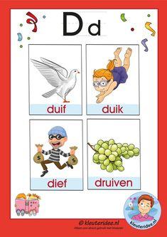 Pakket bij de letter d, woordkaarten met een d, free printable.