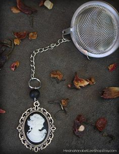 Victorian Cameo Tea Ball Infuser Black & White Gothic Goth
