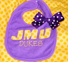 JMU Baby Bib.  I bought this bib as a gift for a JMU couple's baby and the seller is great.  My baby will wear one of these one day ;)