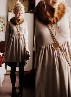 fur collar, henley, dress.