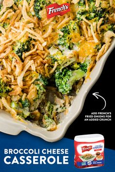This broccoli and cheese casserole is loaded with creamy goodness and topped with French's Fried Onions. With only 10 minutes of prep time, this dish is great for holiday party entertaining and potluck dinners. Tap the Pin to discover the full recipe. Broccoli Recipes, Vegetable Recipes, Vegetarian Recipes, Chicken Recipes, Cooking Recipes, Healthy Recipes, Free Recipes, Vegetable Casserole, Broccoli Casserole