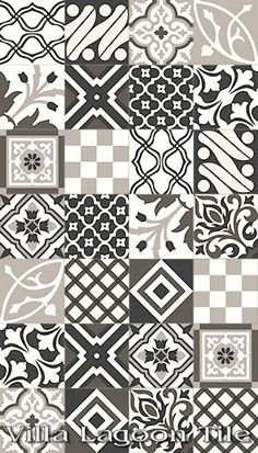 """Patchwork Evening"" Encaustic Cement Tile, exclusive from Villa Lagoon Tile Floor Patterns, Tile Patterns, Textures Patterns, Mosaic Tiles, Wall Tiles, Cement Tiles, Vitromosaico Ideas, Café Bar, Tiles Texture"