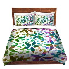 FLORAL Garden Rhapsody Fine Art Duvet Covers King Queen or Twin Size by EbiEmporium Abstract Colorful Flowers Rainbow Fine Art Watercolor Painting Bedroom Decor Decorative Bedding Dorm Room Feminine Girly Stylish Whimsical Ombre Teal Blue Green Pink Pattern #decor #dorm #duvet #duvetcover #bedroom #bedding #modern #floral #flowers #art #pattern #rainbow #colorful