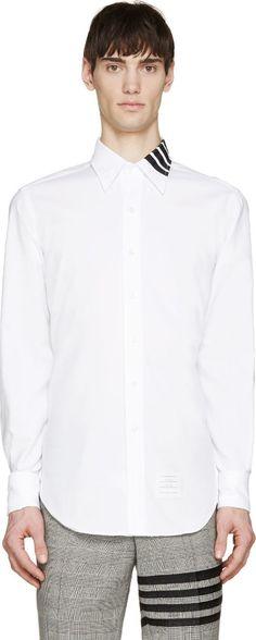 Thom Browne White Collar Stripe Shirt
