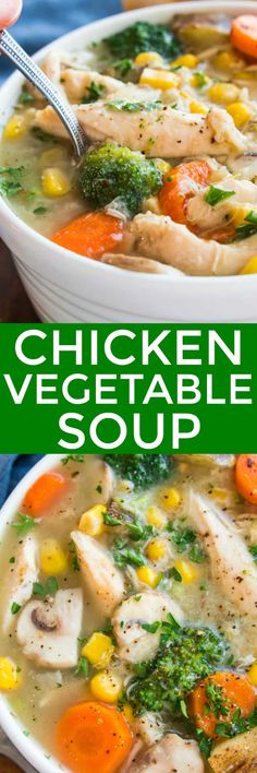 Warm up this winter with a big bowl of Chicken Vegetable Soup! Loaded with chicken, broccoli, potatoes, carrots, mushrooms, and corn, this soup is hearty, satisfying, and so delicious. The perfect alternative to chicken noodle, this Chicken Vegetable Soup is literally packed with veggies and full of flavor.