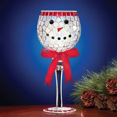 Mosaic Snowman Tall Glass Candle Holder
