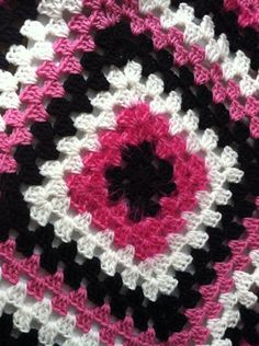 Crochet Granny Square Blanket in Hot Pink Black and by lukesmom6