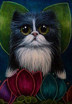 """Tuxedo Fairy Cat in my Garden"" par Cyra R. Cancel"