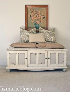Repurposing an {Antique TV Console} into {Beautiful Bench Seating!}