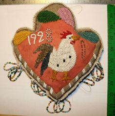 Iroquois beaded Trilobe Heart Pincushion, 1928.