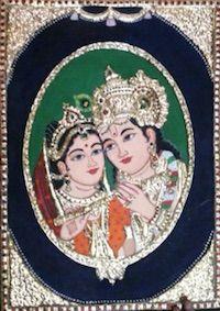 Painting | Tanjore | Radha Krishna Tanjore Painting | CardsNCrafts
