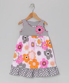 Pink & Grey Flower Ruffle Dress - Toddler & Girls by Tutu & LilliThis darling frock helps little ones look their best while staying cool and comfy. The classic A-line silhouette with adorably mismatched patterns leads to totally twirlable ruffle trim Toddler Girl Dresses, Toddler Outfits, Kids Outfits, Toddler Girls, Junior Outfits, Baby Girl Fashion, Toddler Fashion, Kids Fashion, Fashion Top