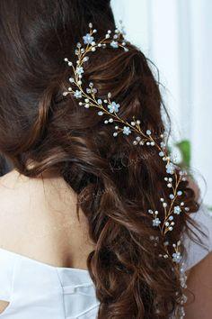 Moonstone long hair vine Wedding hair vine Crystal pearls
