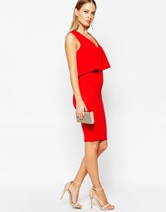 Image 4 ofTFNC 2 In 1 Midi Dress With Mesh Insert At Waist