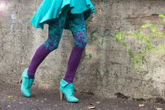 Purple and emerald colour block leggings with by ZIBtextile, $45.00