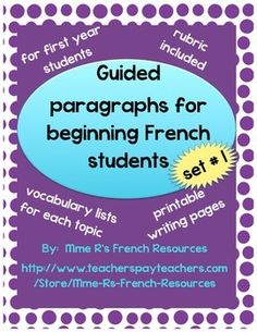 4 guided paragraphs for beginning French will get your students writing paragraphs in no time! NO PREP for you!!!  Each topic includes a vocabulary list of helpful words and/or phrases that can be used as a primary vocabulary list or as a supplement to your own text and curriculum.